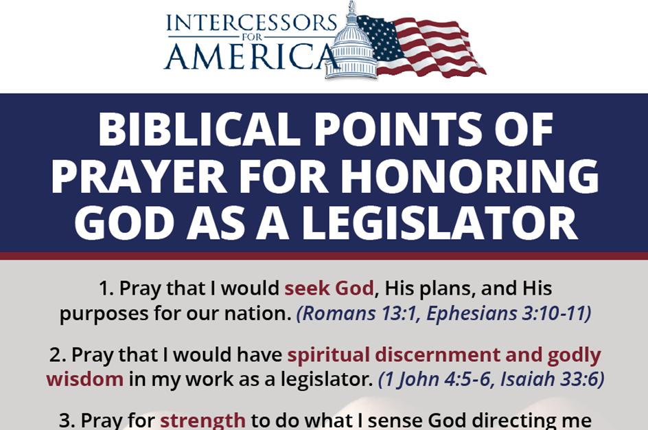 Honoring God as a Legislator Prayer Guide